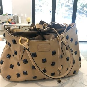 Fendi Bag Milk Calfskin Black Studded  *authentic*